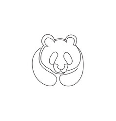 single continuous line drawing funny panda vector image