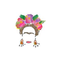 single line sketch watercolor friday mexican woman vector image