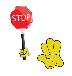 stop sign with yellow hand vector image