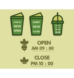Summer fresh smoothie cafe signs concept Open and vector