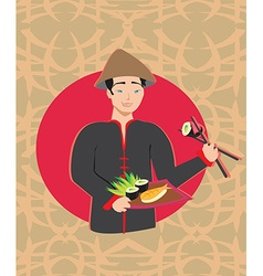 Sushi chef card vector