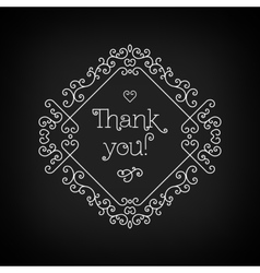 Thank you lettering and frame line art Black board vector image