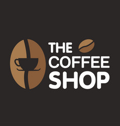 the coffee shop coffee bean black background vector image