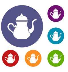 Traditional turkish teapot icons set vector