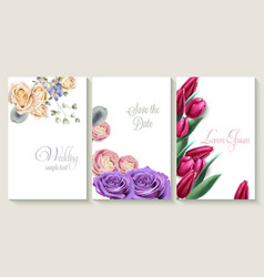 vertical wedding invitation card set with roses vector image