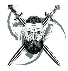 viking sword black vector image
