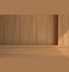 Wooden floor with wooden wall in room vector