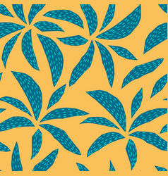 Yellow tropical plant palm tree seamless pattern vector