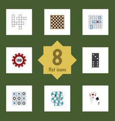Flat icon play set of chess table ace poker and vector