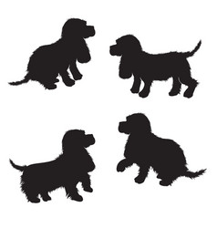 set of black dogs silhouette isolated on white vector image