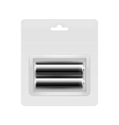 Black alkaline aa batteries in transparent packed vector