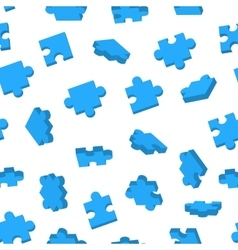 Blue Jigsaw pieces in different positions on white vector image