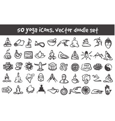 doodle yoga icons set vector image