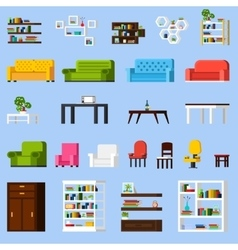 Interior Elements Orthogonal Icon Set vector image vector image