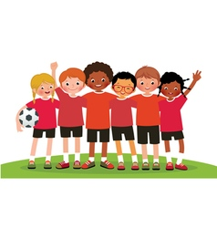 International group kids soccer team vector