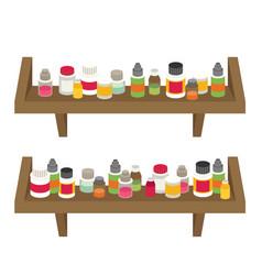 Medicine bottles set in flat design vector
