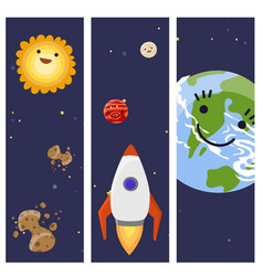space landing planets spaceship cards design vector image vector image