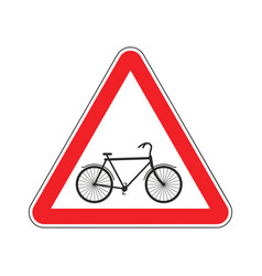 Attention cyclist bicycle on red triangle road vector