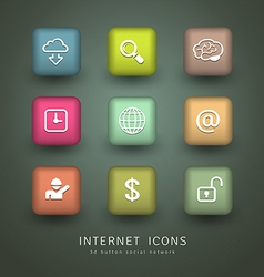 Buttons Internet Icons network collections vector image vector image