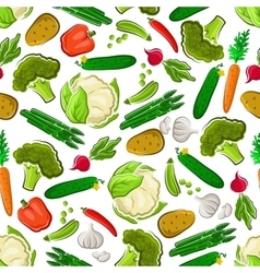 Fresh farm vegetarian food seamless background vector image vector image