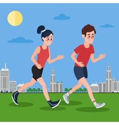 Man and Woman Running in the Megapolis vector image vector image