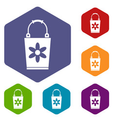 bucket icons set vector image