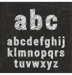 Chalk alphabet on black background ilustration vector image