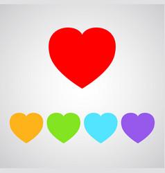 five color heart icon vector image