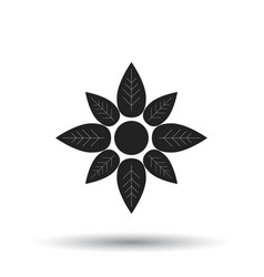 flower icon flat flower sign symbol with shadow vector image