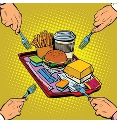 Full tray of fast food vector image vector image