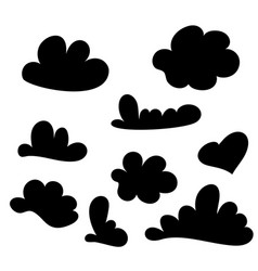 hand drawn cloud set isolated on white sketch vector image