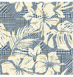 houndstooth plaid with abstract hibiscus flowers vector image