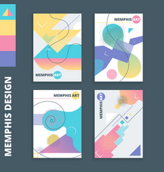 memphis style cards 2 vector image