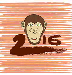 new year print monkey cartoon hand drawn symbol vector image vector image