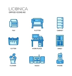 Set of modern office line flat design icons and vector image