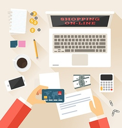 Shopping in Online Store Top View Flat Design vector image vector image