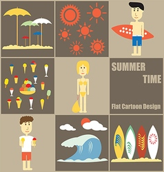 Summer Time people Flat Cartoon vector image