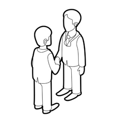 Two businessmen shaking hands icon outline style vector image