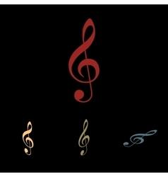 Violine clef icon set vector image
