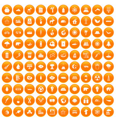100 eco icons set orange vector