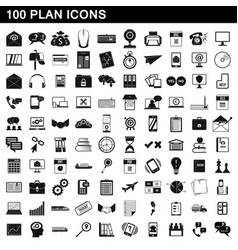100 plan icons set simple style vector image