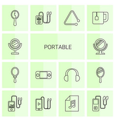 14 portable icons vector image