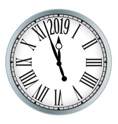 2019 new year classic clock on white background vector image