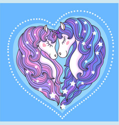 A pair of beautiful unicorns with a long mane agai vector