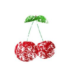 A red cherry painted with a brush vector