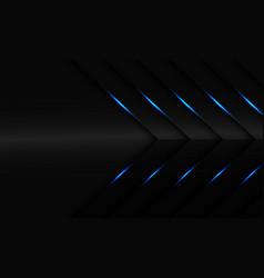Abstract blue light on dark grey metallic arrow vector