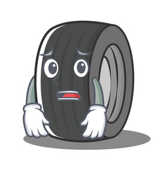 Afraid tire character cartoon style vector