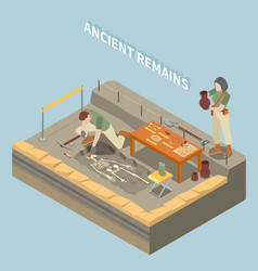 Archeology isometric concept vector