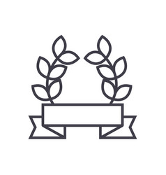 award ribbon with leafs line icon sign vector image