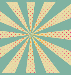 background with retro rays and red dots vector image